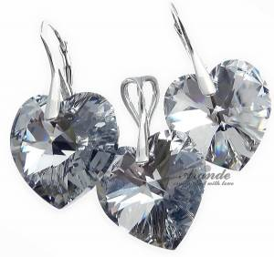 EARRINGS+PENDANT SWAROVSKI CRYSTALS *COMET HEART* STERLING SILVER CERTIFICATE