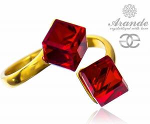 SWAROVSKI RING SIAM CUBE GOLD PLATED STERLING SILVER