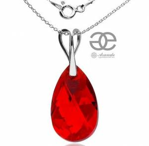 STERLING SILVER NECKLACE SWAROVSKI CRYSTAL RED PENDANT BEST PRICE