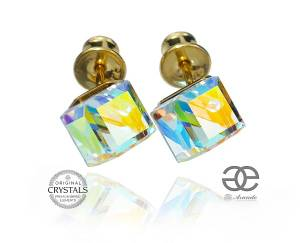 SWAROVSKI EARRINGS AURORA CUBE GOLD PLATED STERLING SILVER