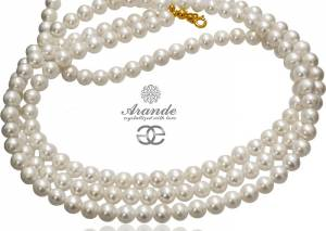 BEAUTIFUL NECKLACE NATURAL WHITE PEARLS GOLD PLATED STERLING SILVER