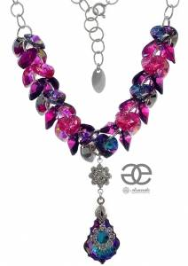 SWAROVSKI NECKLACE *VITRAIL ORCHIDEA* STERLING SILVER 925