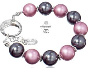 SWAROVSKI BEAUTIFUL BRACELET GREY ROSE PEARL STERLING SILVER 925