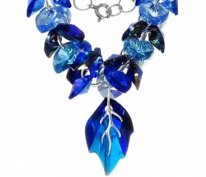 NEW FABULOUS SWAROVSKI NECKLACE *BLUE NAWI LEAF * STERLING SILVER 925