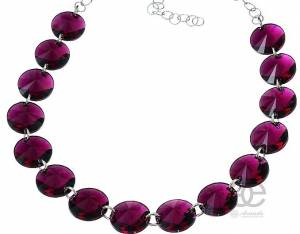 SWAROVSKI CRYSTALS BEAUTIFUL NECKLACE FUCHSIA SILVER 925