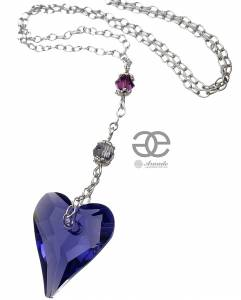 NECKLACE SWAROVSKI CRYSTALS *TANZANITE HEART* STERLING SILVER 925 CERTIFICATE