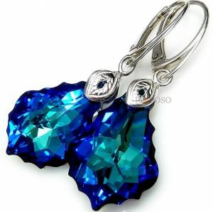 SWAROVSKI BEAUTIFUL EARRINGS PENDANT BAROQUE BLUE STERLING SILVER 925