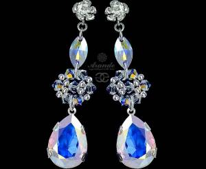 SWAROVSKI BEAUTIFUL WEDDING EARRINGS AURORA STERLING SILVER