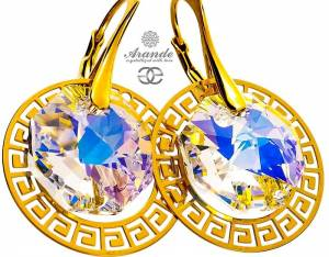SWAROVSKI DECORATIVE EARRINGS GREEK AURORA GOLD PLATED SILVER