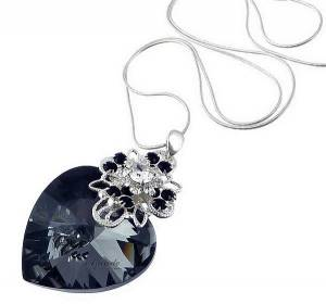 SWAROVSKI UNIQUE NECKLACE OCEAN HEART NIGHT STERLING SILVER 925