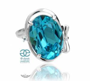 SWAROVSKI BEAUTIFUL TURQUOISE RING STERLING SILVER 925
