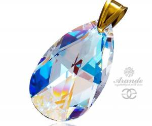 SWAROVSKI BEAUTIFUL PENDANT BLUE AURORA GOLD PLATED STERLING SILVER