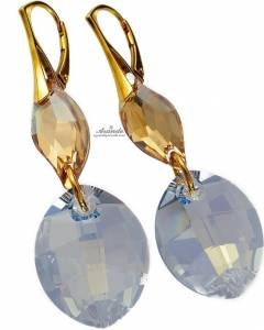 EARRINGS SWAROVSKI CRYSTALS *BLUE SHADE GOLD* STERLING SILVER 24K GOLD PLATED