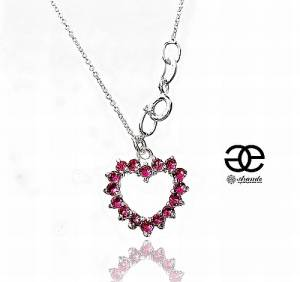 SWAROVSKI BEAUTIFUL NECKLACE ROSE HEART STERLING SILVER 925