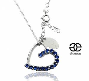 SWAROVSKI UNIQUE NECKLACE SAPPHIRE HEART STERLING SILVER 925