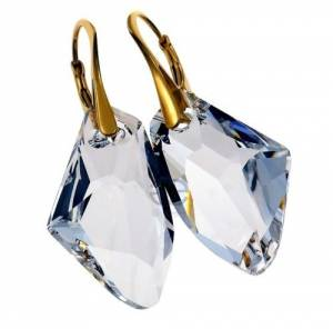SWAROVSKI CRYSTALS *CRYSTAL GALACTIC* UNIQUE EARRINGS 24K GOLD PLATED SILVER