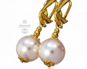SWAROVSKI BEAUTIFUL CREME PEARLS EARRINGS GOLD PLATED STERLING SILVER