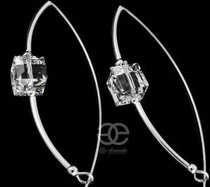SWAROVSKI UNIQUE EARRINGS CRYSTAL CUBE STERLING SILVER 925