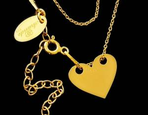 TRENDY NECKLACE *SENSATION HEART* STERLING SILVER 24K GOLD PLATED