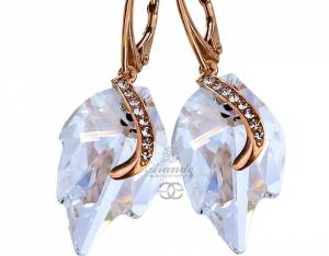 SWAROVSKI BEAUTIFUL EARRINGS MOON LEAF SENTI ROSE GOLD SILVER
