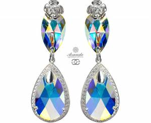 SWAROVSKI UNIQUE EARRINGS AURORA ENCANTE STERLING SILVER 925