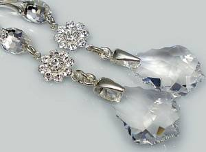 SWAROVSKI CRYSTALS LONG EARRINGS STERLING SILVER CERTIFICATE