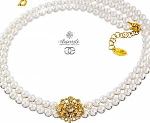 SWAROVSKI BEAUTIFUL NECKLACE CRYSTAL FLOW PEARLS GOLD PLATED STERLING SILVER