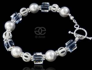 SWAROVSKI BEAUTIFUL BRACELET  PEARL ROCK SLIVER 925