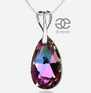 STERLING SILVER NECKLACE SWAROVSKI CRYSTAL VITRAIL PENDANT BEST PRICE