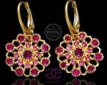 SWAROVSKI CRYSTALS EARRINGS FUCHSIA FLOW GOLD 24K GOLD PLATED STERLING SILVER