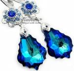BLUE BAROQUE FEEL EARRINGS SWAROVSKI CRYSTALS