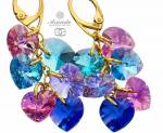 SWAROVSKI UNIQUE HEART MIX EARRINGS 24K GOLD PLATED STERLING SILVER