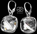SWAROVSKI BEAUTIFUL EARRINGS PENDANT CRYSTAL SQUARE STERLING SILVER 925