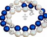 SWAROVSKI DECORATIVE NECKLACE PEARL BLUE WHITE FANTASIA STERLING SILVER 925
