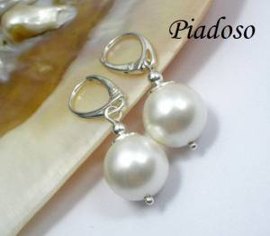 SEASHELL WHITE PEARLS  BEAUTIFUL EARRINGS STERLING SILVER 925