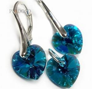 EARRINGS+PENDANT SWAROVSKI CRYSTALS *HEART MANY COLORS* STERLING SILVER
