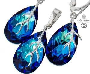 SWAROVSKI DECORATIVE EARRINGS PENDANT BERMUDA BLUE STERLING SILVER 925