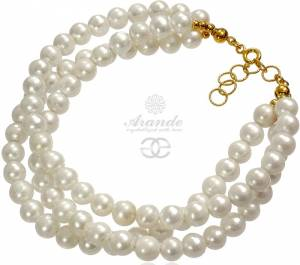 BEAUTIFUL BRACELET NATURAL WHITE PEARLS GOLD PLATED