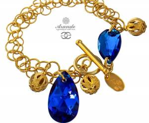 SWAROVSKI BEAUTIFUL BRACELET BLUE COMET GOLD PLATED STERLING SILVER