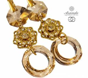 SWAROVSKI BEAUTIFUL EARRINGS GOLD RING FEEL GOLD PLATED STERLING SILVER