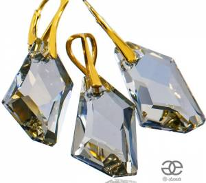 SWAROVSKI EARRINGS PENDANT SHADE GOLD PLATED STERLING SILVER