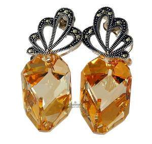 SWAROVSKI UNIQUE EARRINGS GOLDEN ADORE STERLING SILVER 925