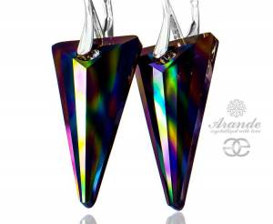 SWAROVSKI NEWEST RAINBOW DARK EARRINGS JEAN PAUL GAULTIER  STERLING SILVER