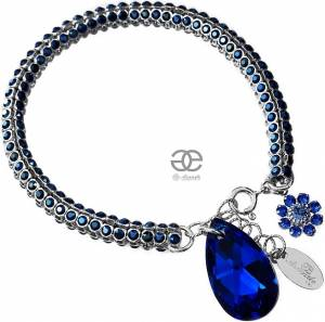NEW UNIQUE BRACELET SWAROVSKI CRYSTALS *BLUE CRYSTALLIZED* SILVER 925