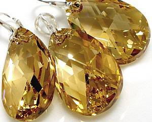 SWAROVSKI CRYSTALS JEWELLERY SET *GOLDEN DROP* STERLING SILVER HANDMADE