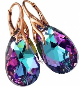 SWAROVSKI BEAUTIFUL EARRINGS VITRAIL ROSE GOLD PLATED STERLING SILVER