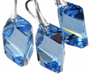 SWAROVSKI CRYSTALS JEWELLERY SET LIGHT SAPPHIRE CUBIC STERLING SILVER 925