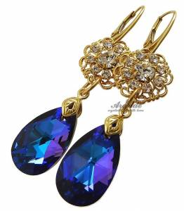 SWAROVSKI CRYSTALS EARRINGS HELIO GOLD FEEL STERLING SILVER 24K GOLD PLATED