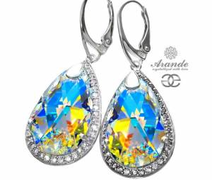 SWAROVSKI UNIQUE EARRINGS AURORA ENCANTE  STERLING SILVER