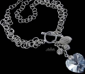 NECKLACE SWAROVSKI CRYSTALS *COMET HEART* STERLING SILVER 925 CERTIFICATE
